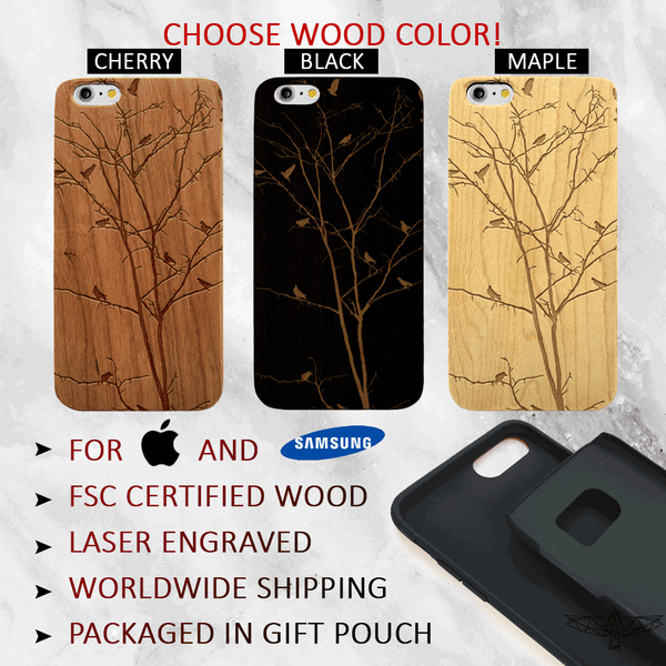 Winter Tree with Birds- Wood Phone Case