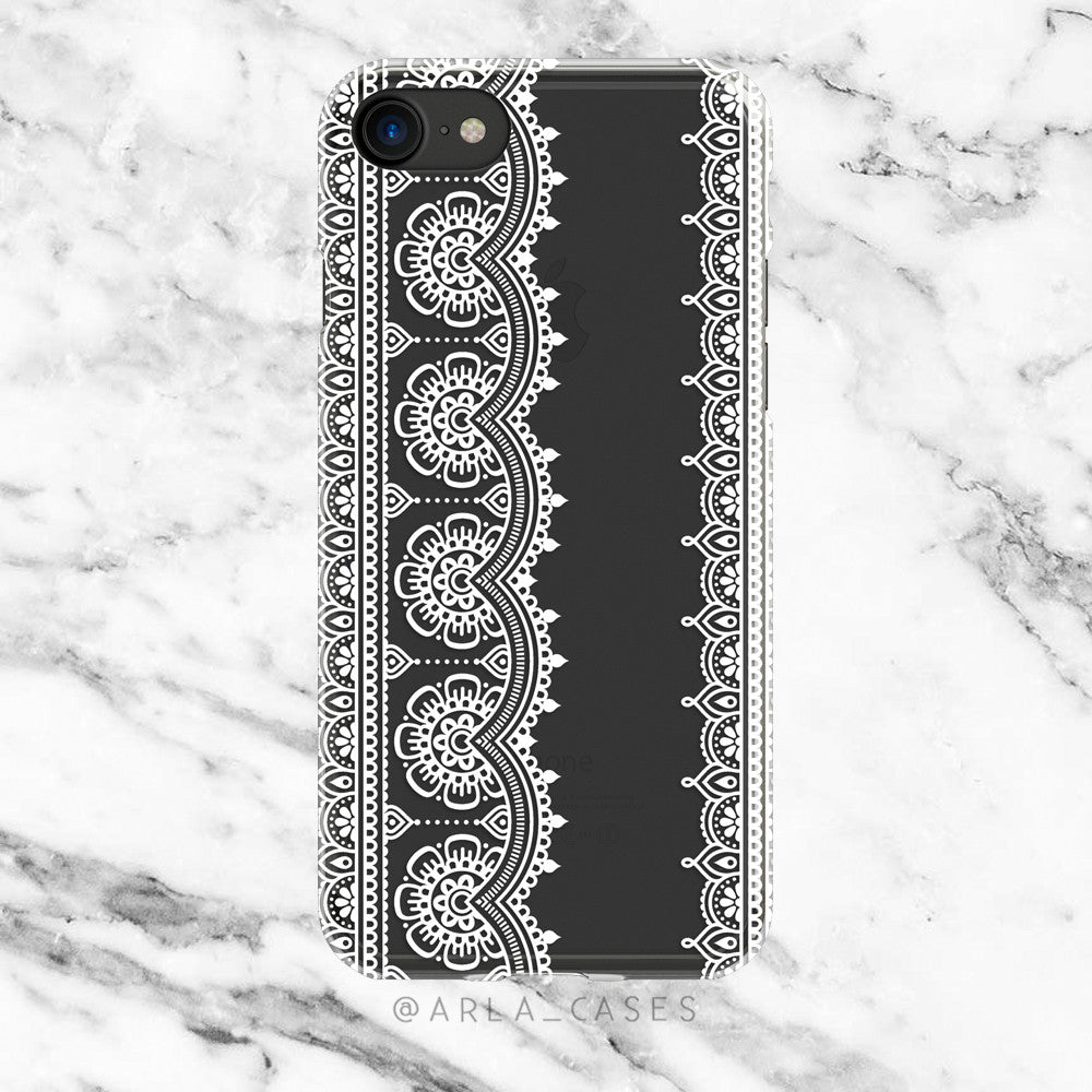 White Henna Top Lace Design iPhone Case