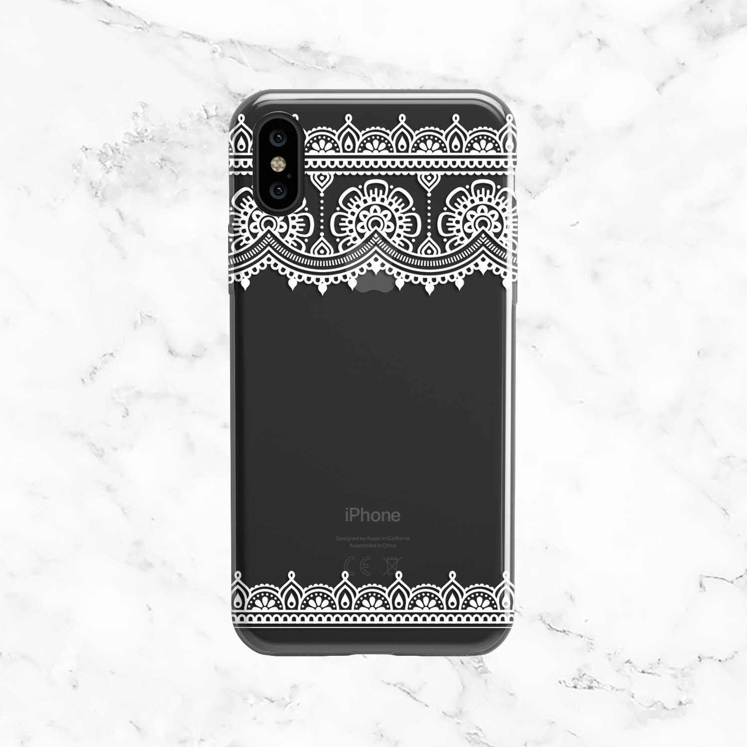 White Henna Lace Design - Clear TPU Phone Case