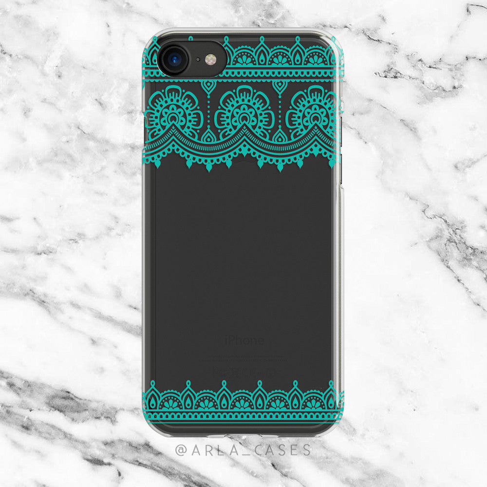 Turquoise Lace on Clear Printed iPhone Case