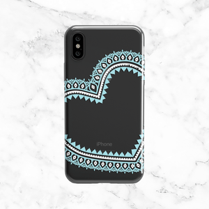 Mint Blue Lace Heart Design Phone Case - Clear TPU iPhone and Galaxy Cover
