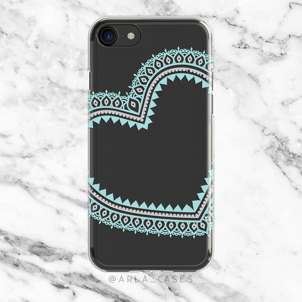 Mint Blue Lace Heart on Clear Printed iPhone Case