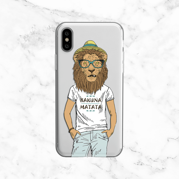 Hipster Lion with Hakuna Matata T-Shirt  - Clear TPU Phone Case Cover