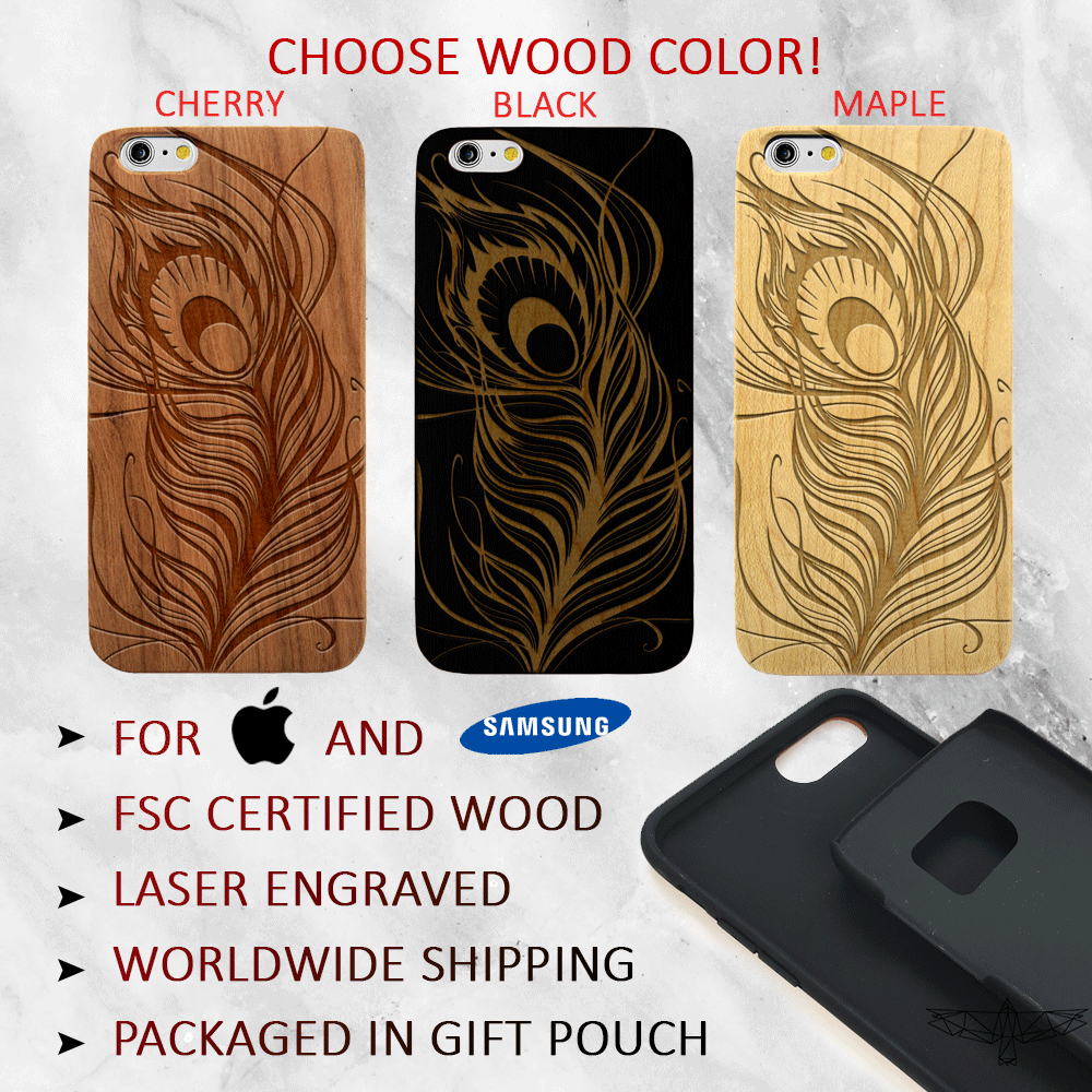 Peacock Feather Wood Phone Case