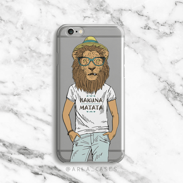 Hipster Lion Clear iPhone and Galaxy Phone Case