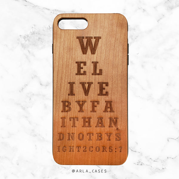 Faith Bible Verse Wood iPhone Case