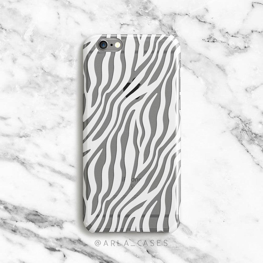 White Zebra Stripes on Clear Printed iPhone Case