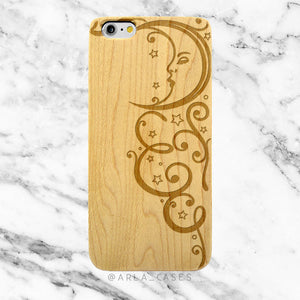 Moon and Stars Engraved on Wood iPhone Case