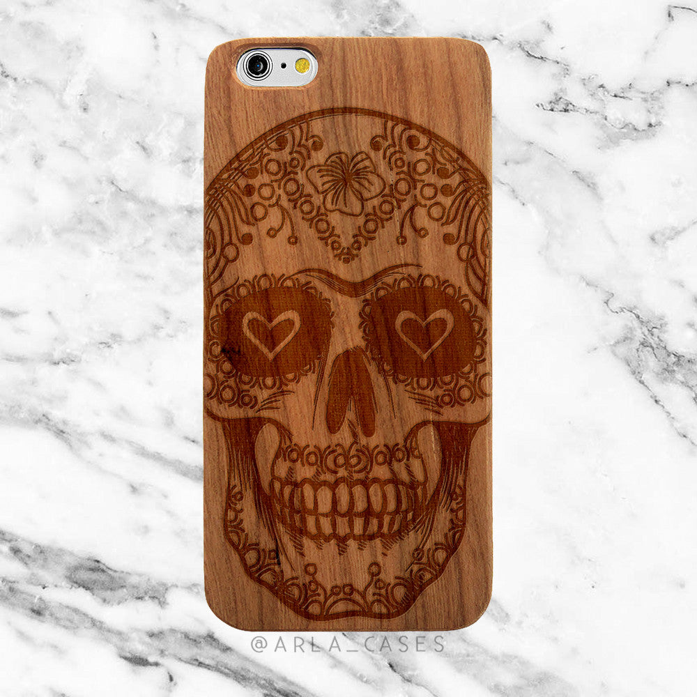 Sugar Skull on Wood iPhone Case