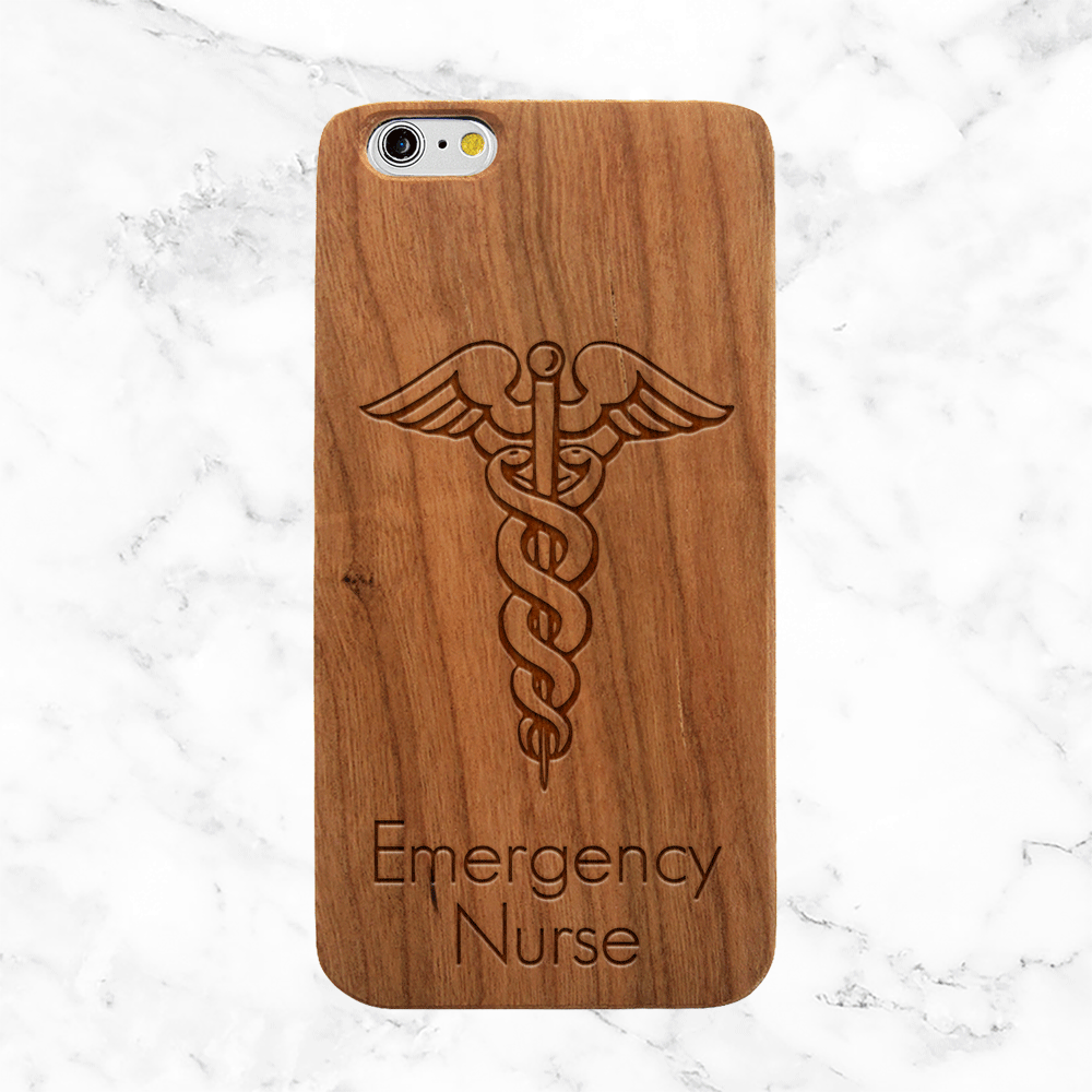 Custom Medical Caduceus - Wood Phone Case