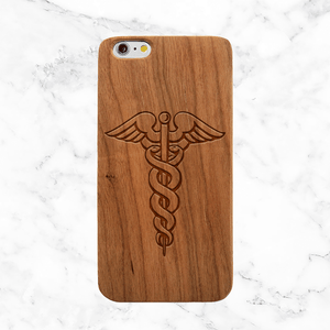 Caduceus Staff Wooden iPhone Case