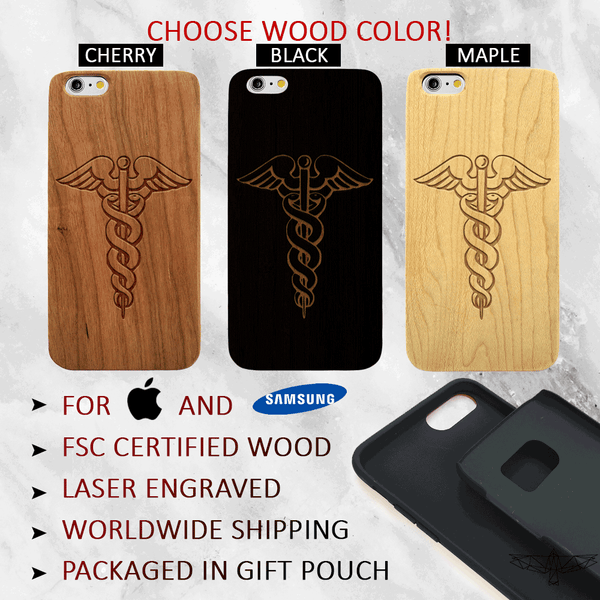 Medical Profession Caduceus Wood Phone Case