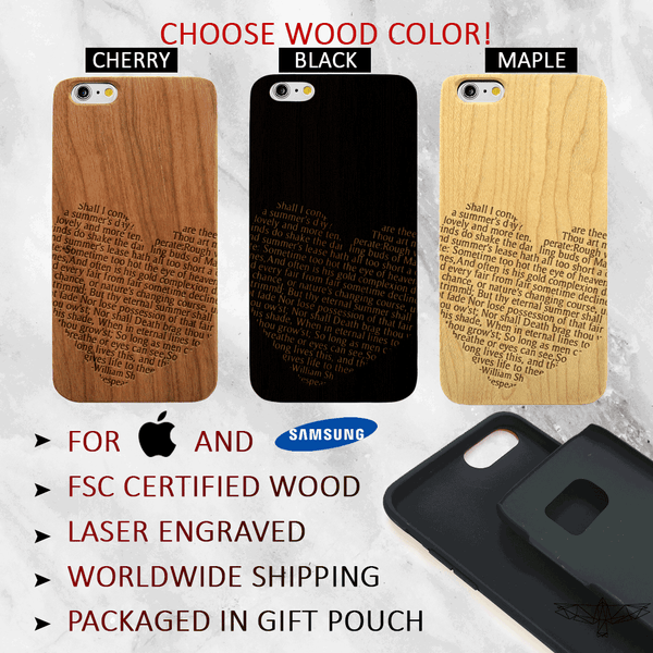 Shakespeare Sonnet 18 in Heart - Wood Phone Case