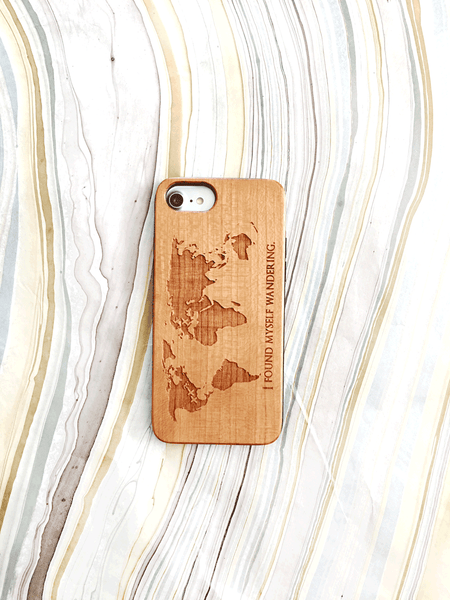 Custom Quote World Map Wood Case