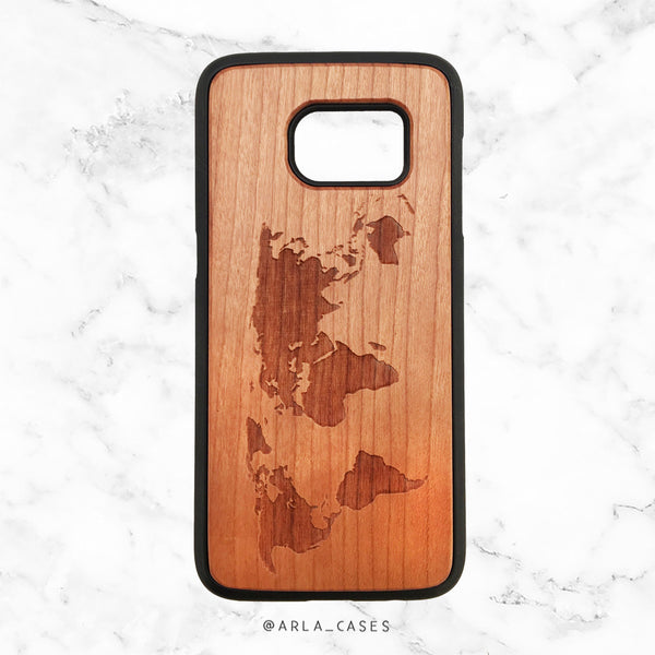 World Map Wood Phone Case