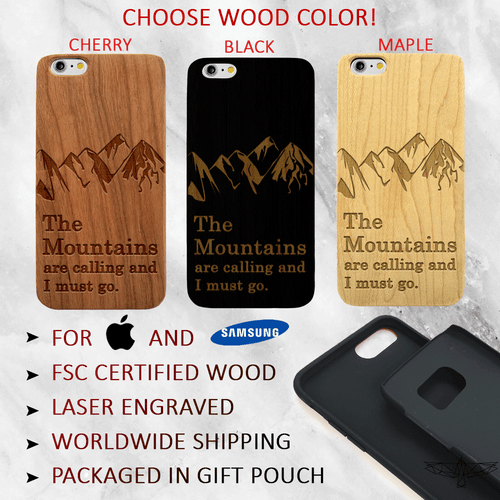 The Mountains are Calling Quote - Wood Phone Case