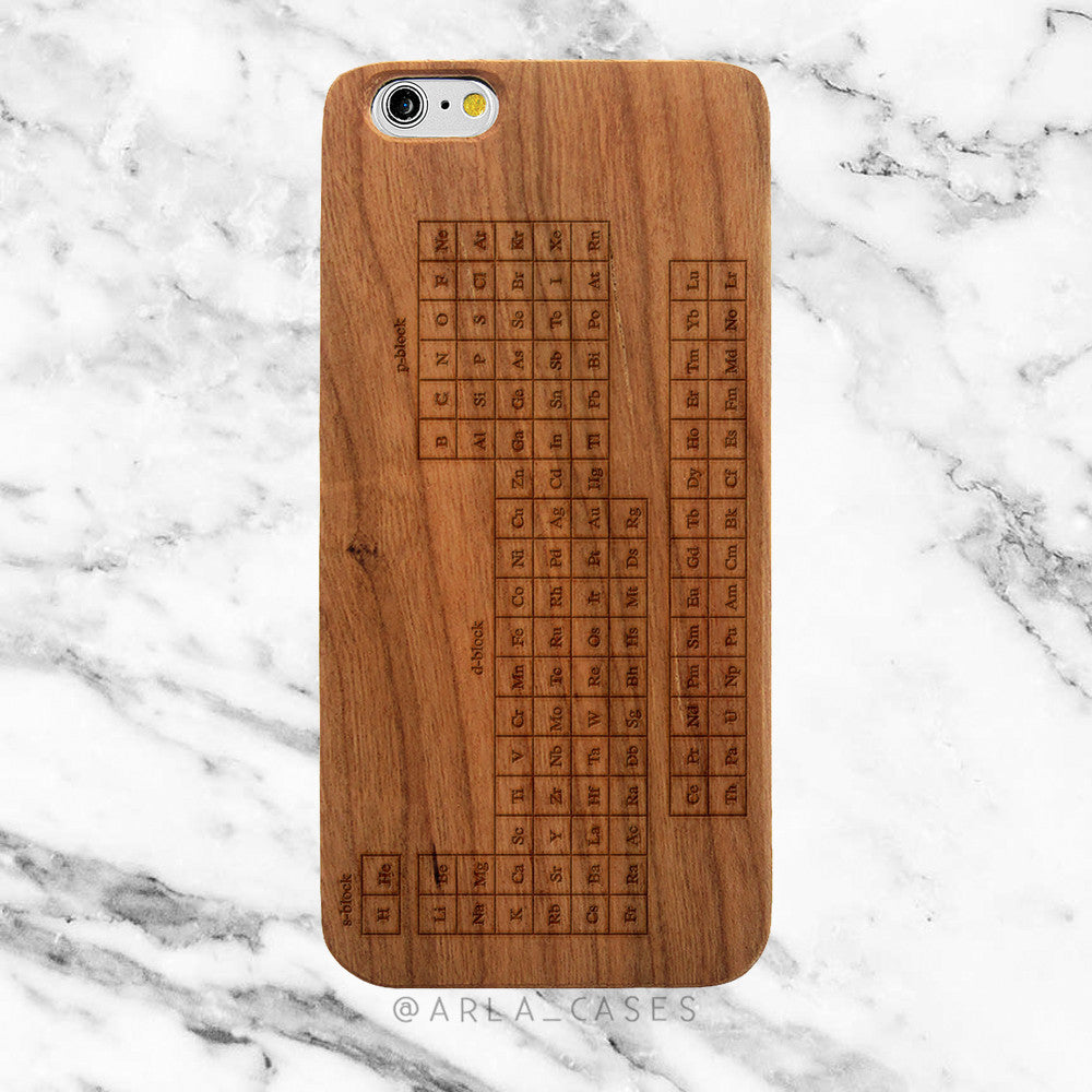Periodic Table of Elements on Wood iPhone Case