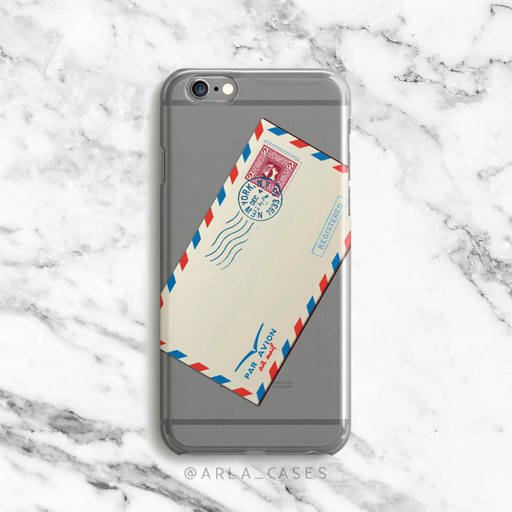 Vintage Air Mail Envelope on Clear Printed iPhone Case