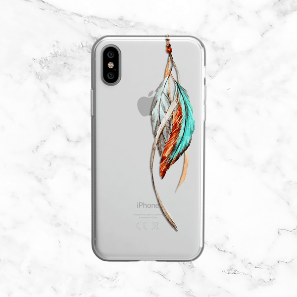 Watercolor Tribal Feathers - Clear Printed TPU Case