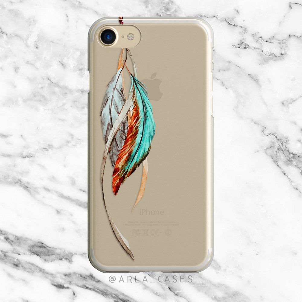 Watercolor Tribal Feathers on Clear Printed iPhone Case