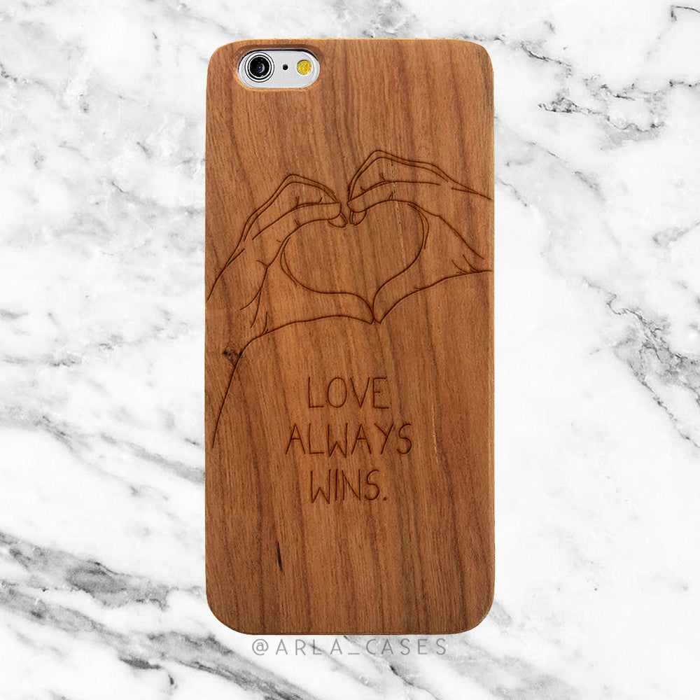 Love Always Wins on Wood iPhone Case