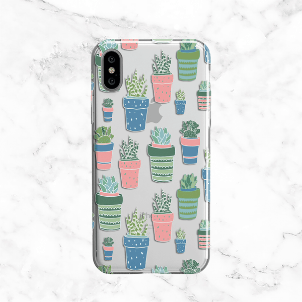 Potted Pastel Cactus Collage - Clear Printed TPU Case