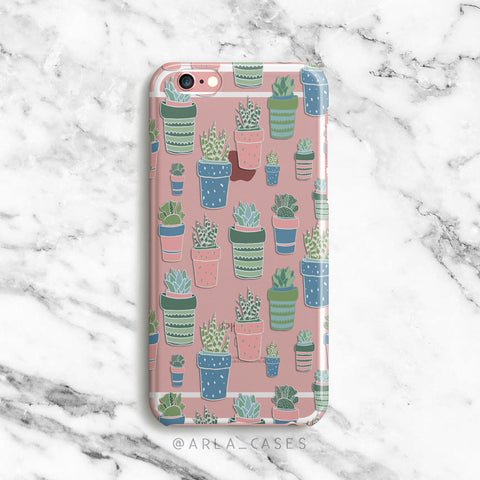 Potted Pastel Cactus on Clear Printed iPhone Case