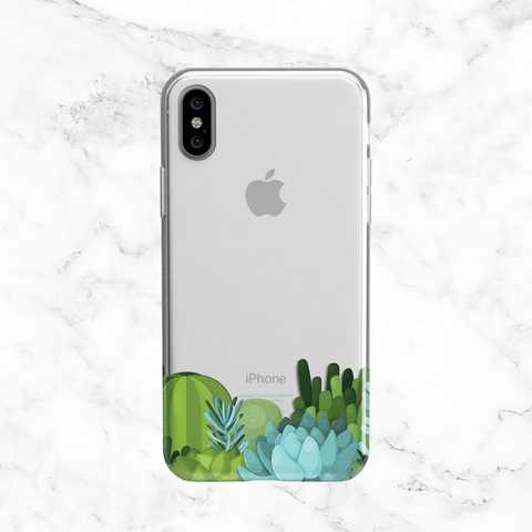Pastel Floral and Succulent - Clear TPU Phone Case Cover