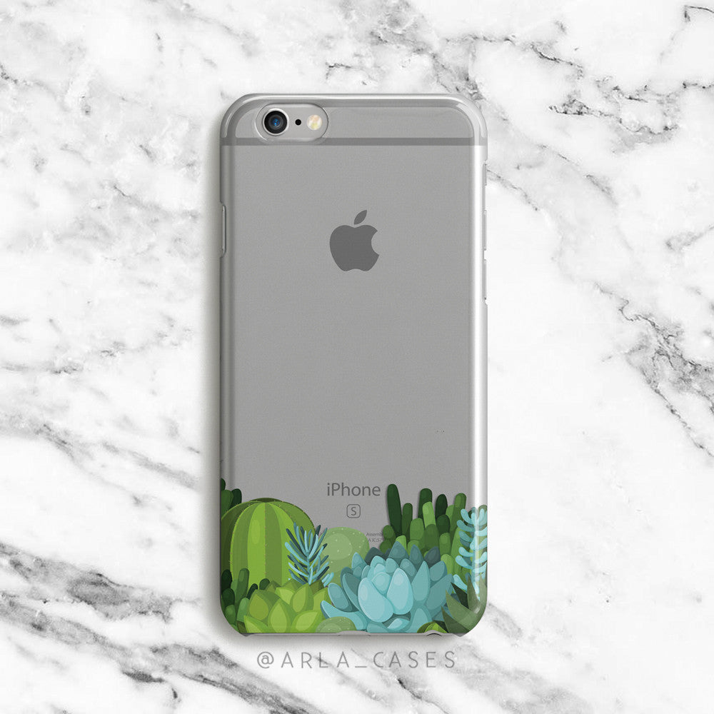 Desert Cacti on Clear Printed iPhone Case