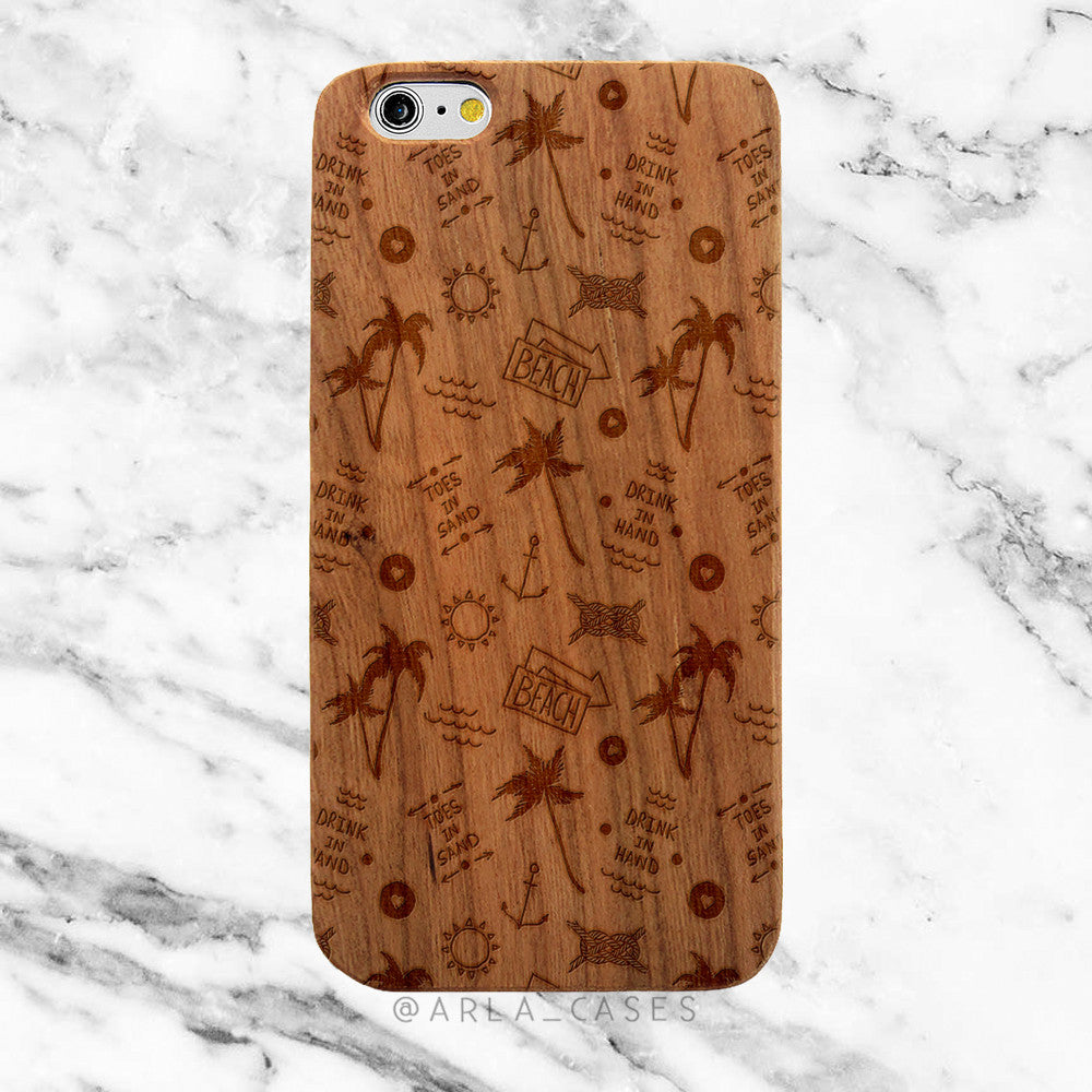 Summer Palm Trees on Wood iPhone Case
