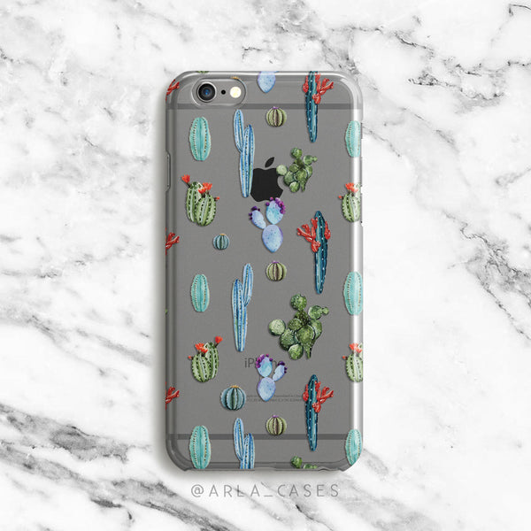 Watercolor Cacti and Succulents on Clear Printed iPhone Case