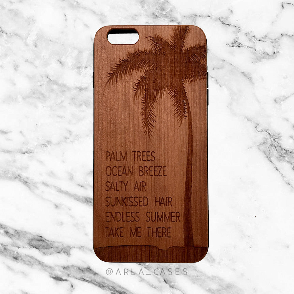 Summer Quote Engraved on Wood iPhone Case