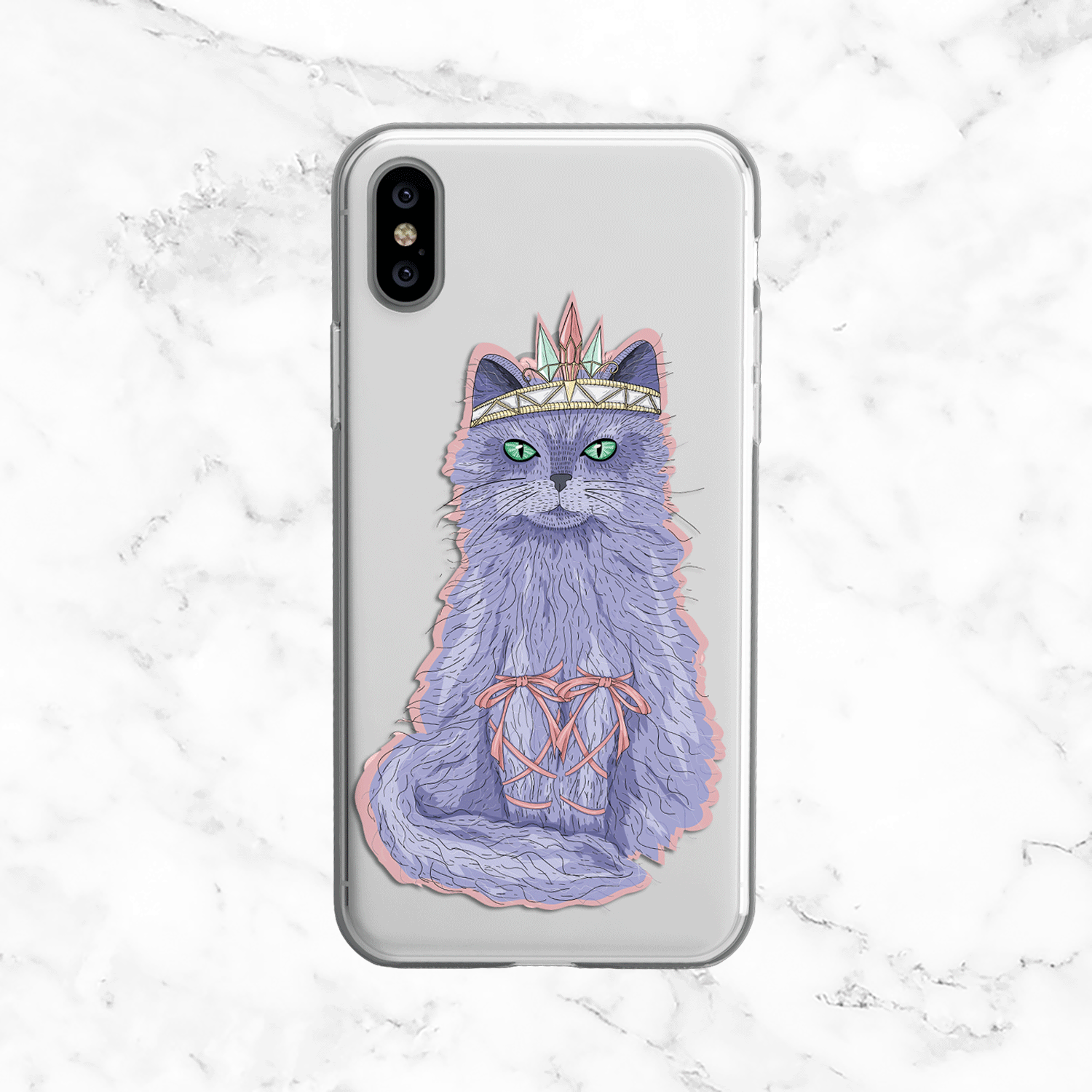 Trendy Ballerina Cat - Clear TPU iPhone Galaxy Case