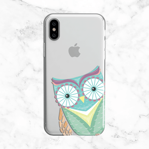 Peek-a-boo Pastel Blue Owl - Clear TPU Case for iPhone and Galaxy