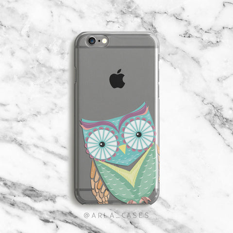 Owl on Clear Printed iPhone Case