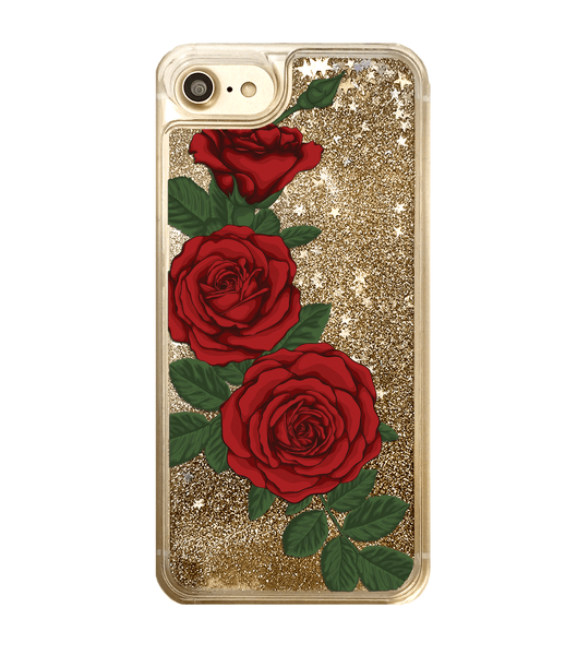 Gold Glitter Red Roses iPhone Case
