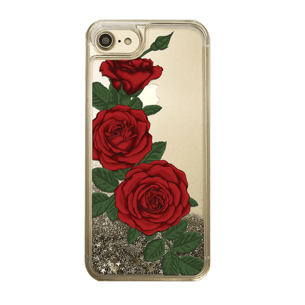 Red Roses Gold Glitter Phone Case