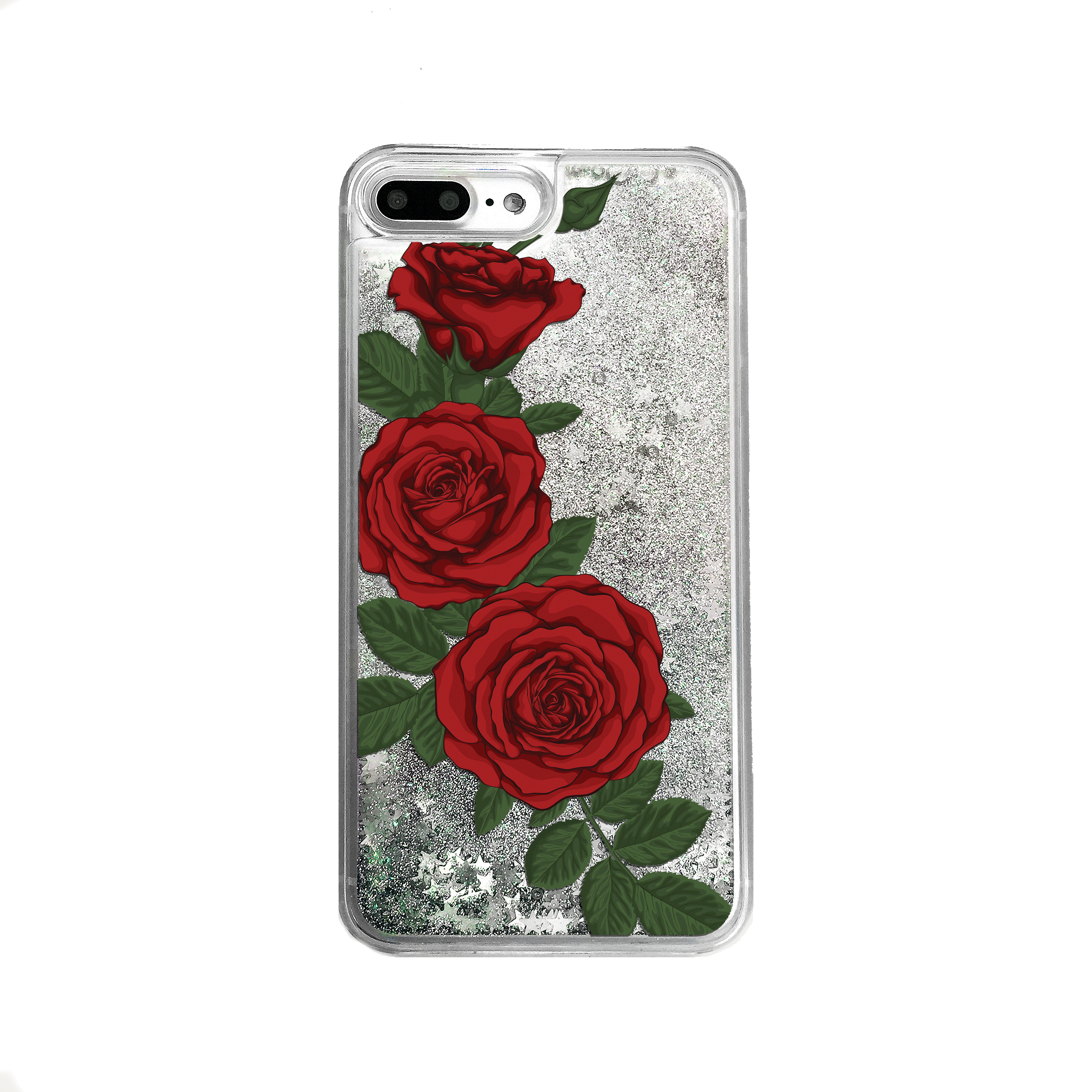 Silver Glitter Red Roses iPhone Case