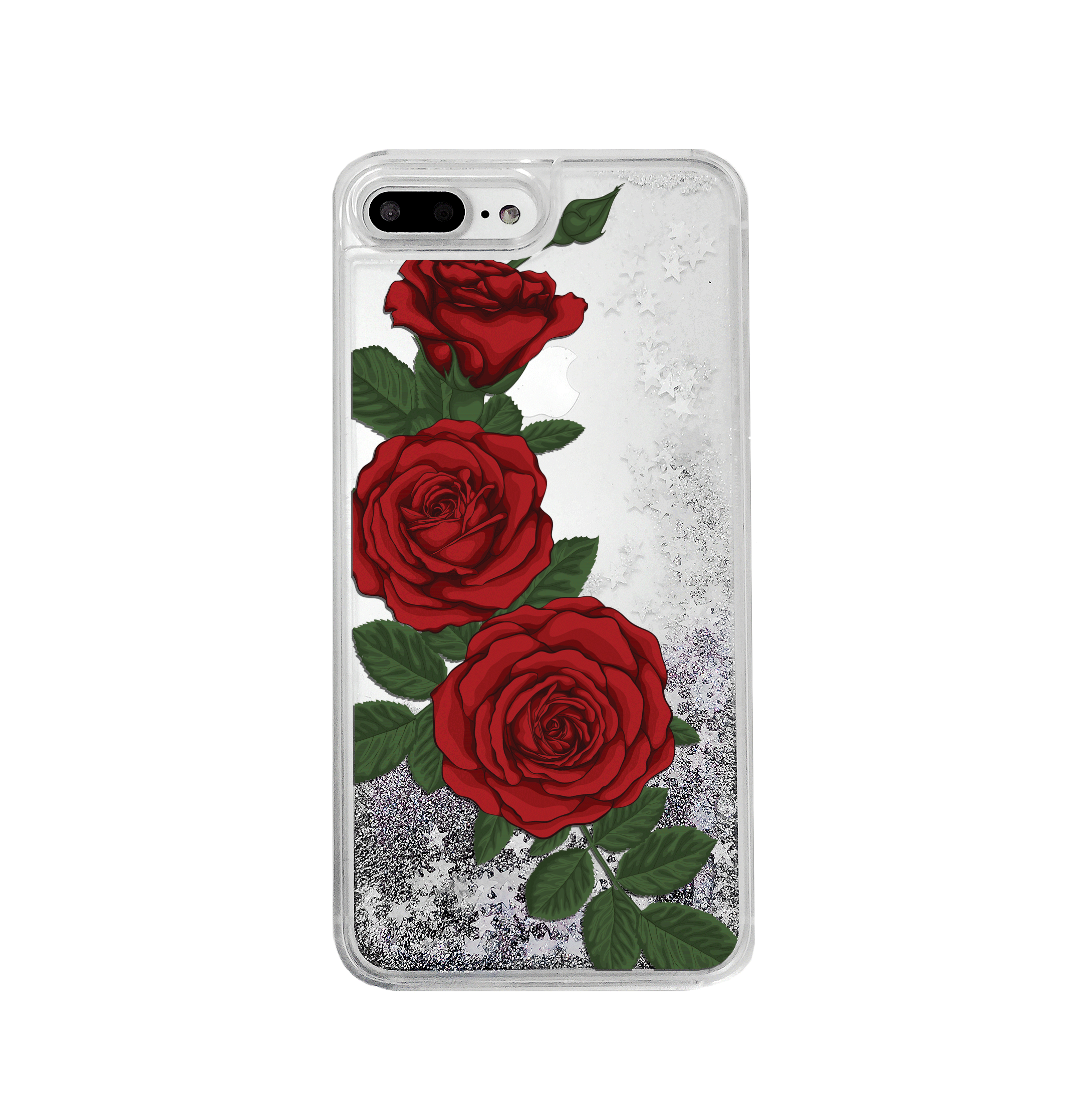 Red Roses Silver Glitter Phone Case