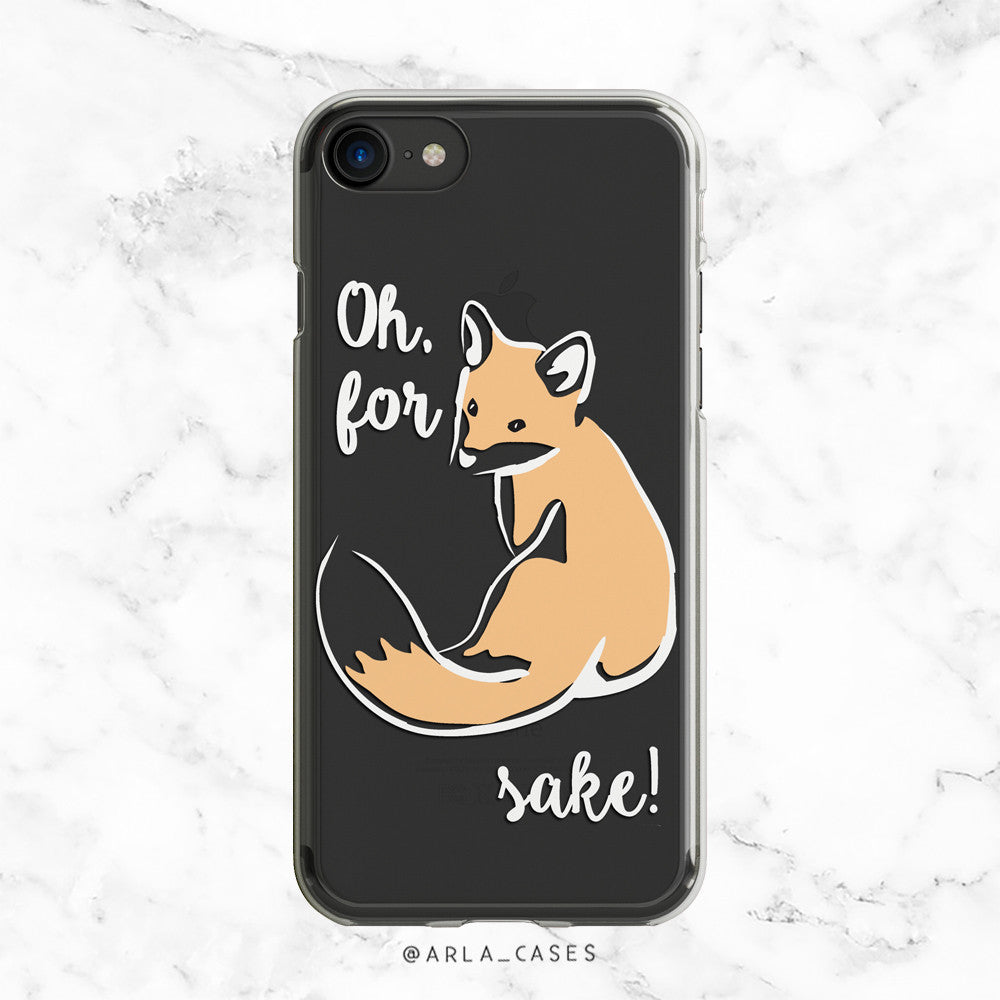 Fox with Attitude - 'For Fox Sake' - Clear TPU Phone Case