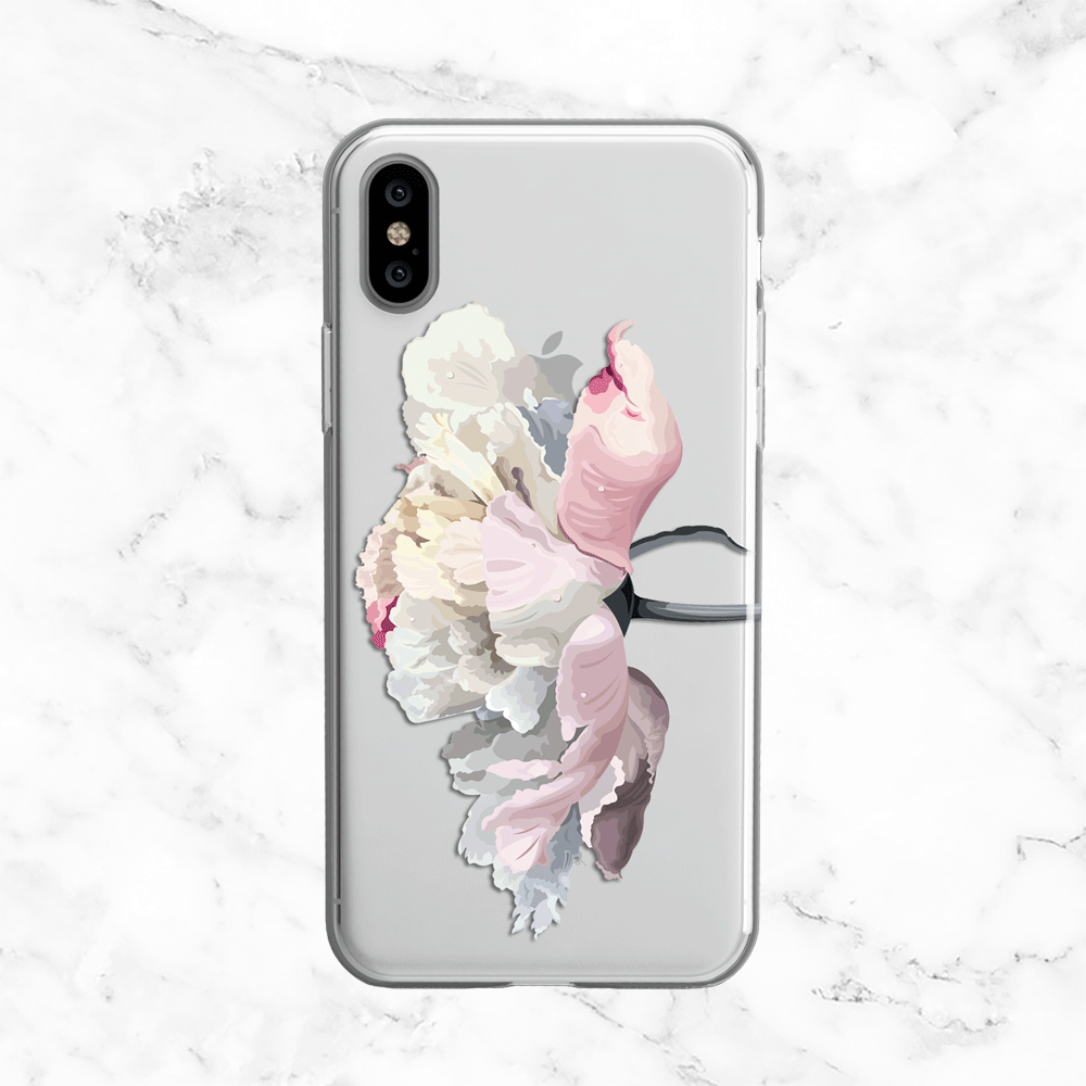 White Peony Clear Phone Case