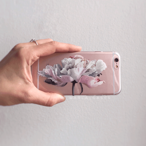Peony Flower Clear iPhone and Galaxy Phone Case
