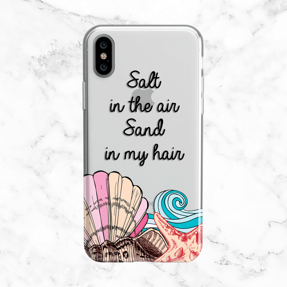 Salt in the Air, Sand in My Hair - Summer Quote Clear TPU Phone Case