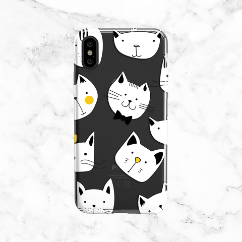 Fancy Gentleman Cat Doodles - Clear Printed Animal TPU Phone Case