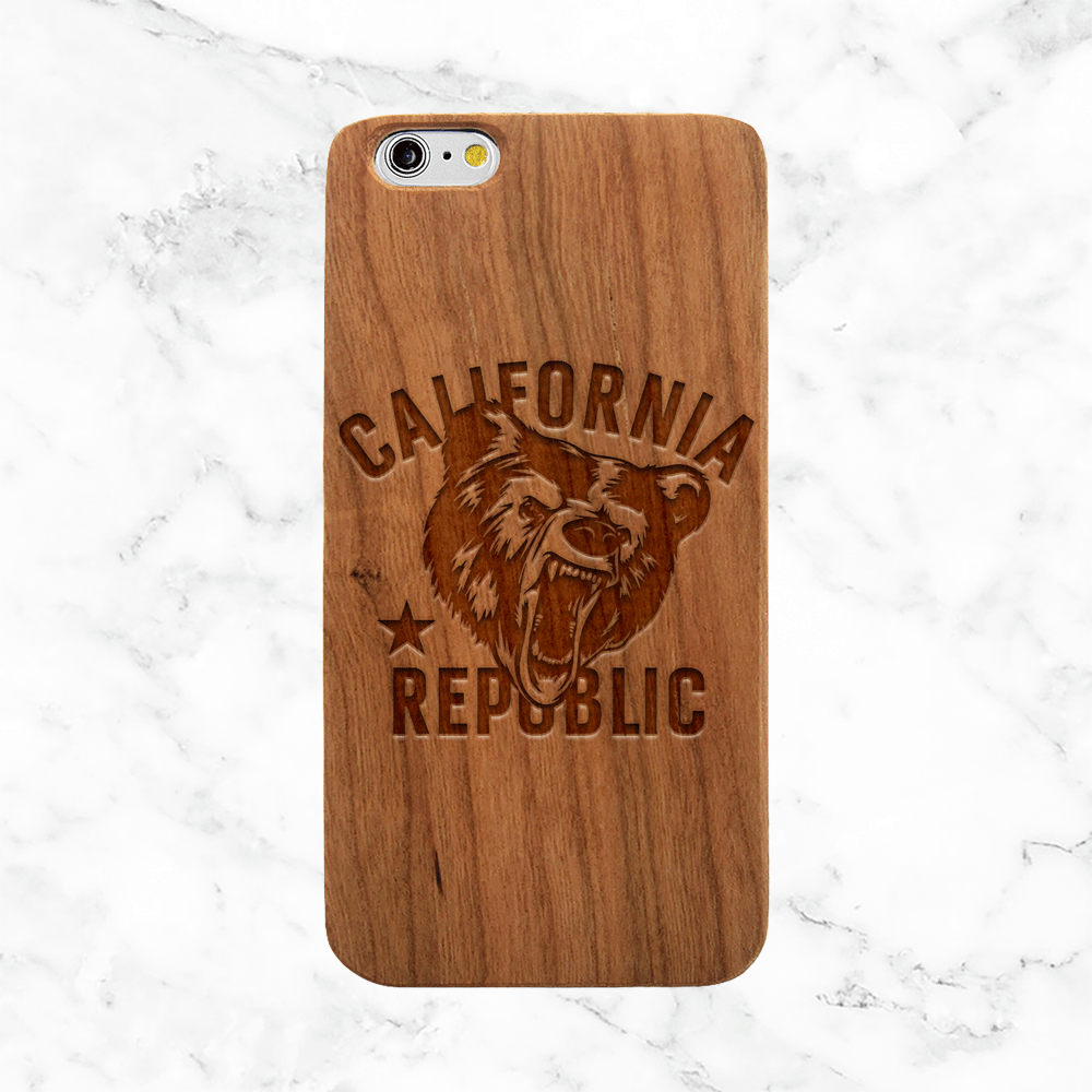 California Bear Wood Phone Case