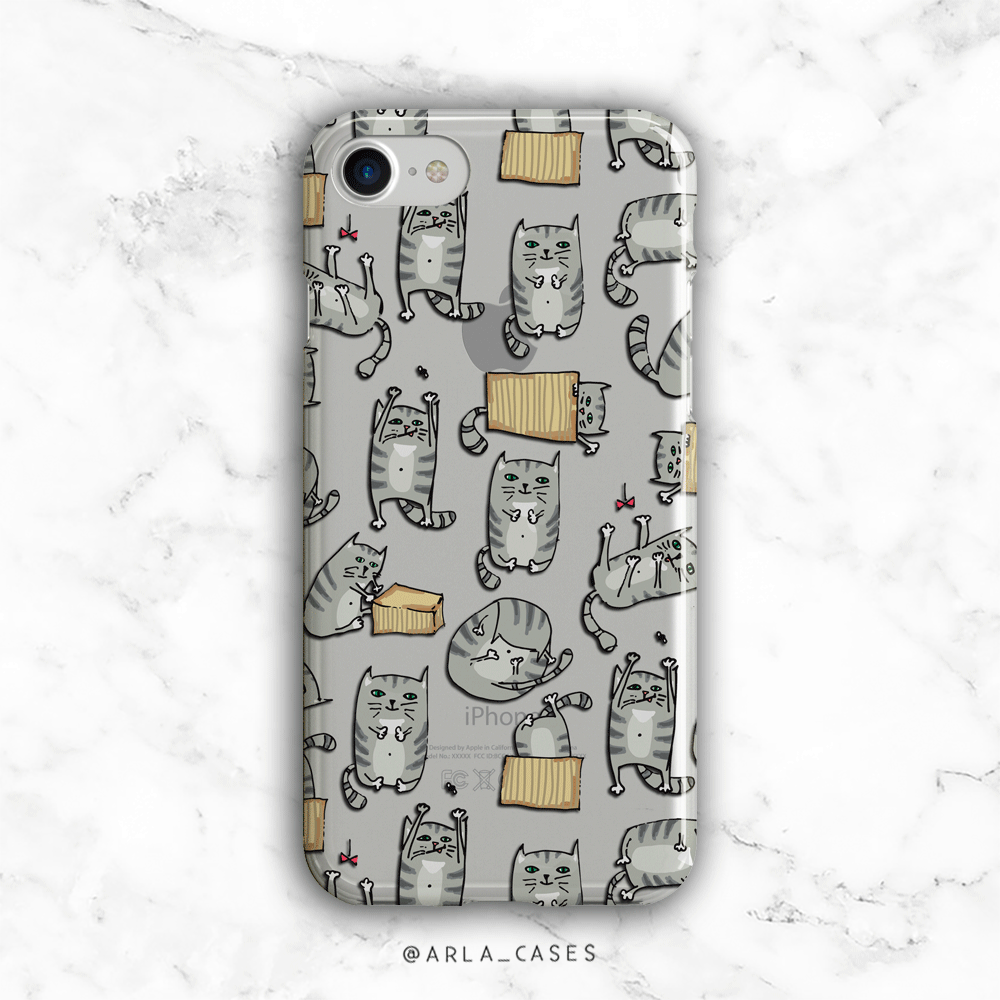 Cats Out of the Bag - Clear Printed Animal TPU Phone Case