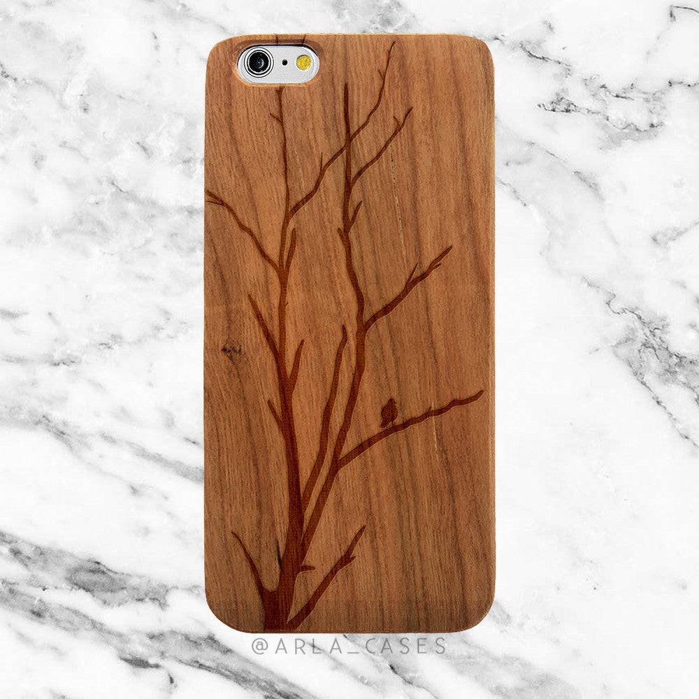 Winter Tree on Wood iPhone Case