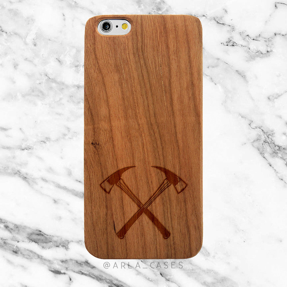 Firefighter Axe on Wood iPhone Case