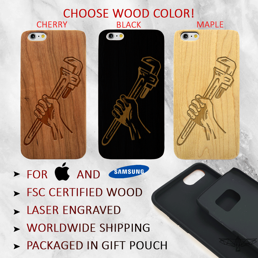 Handyman Wrench Wood Phone Case - Plumber Wood iPhone and Galaxy Case