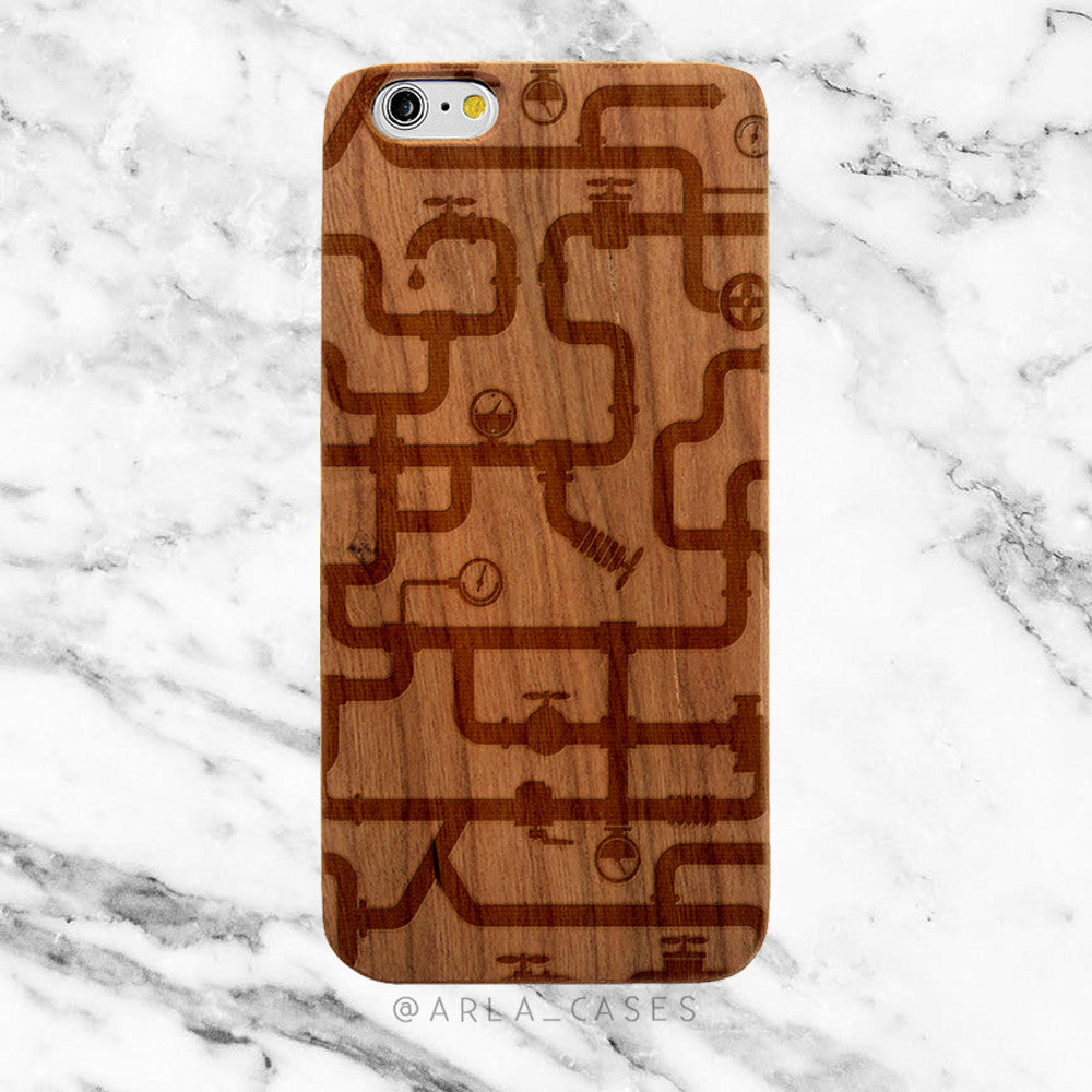 Water Pipes on Wood iPhone Case